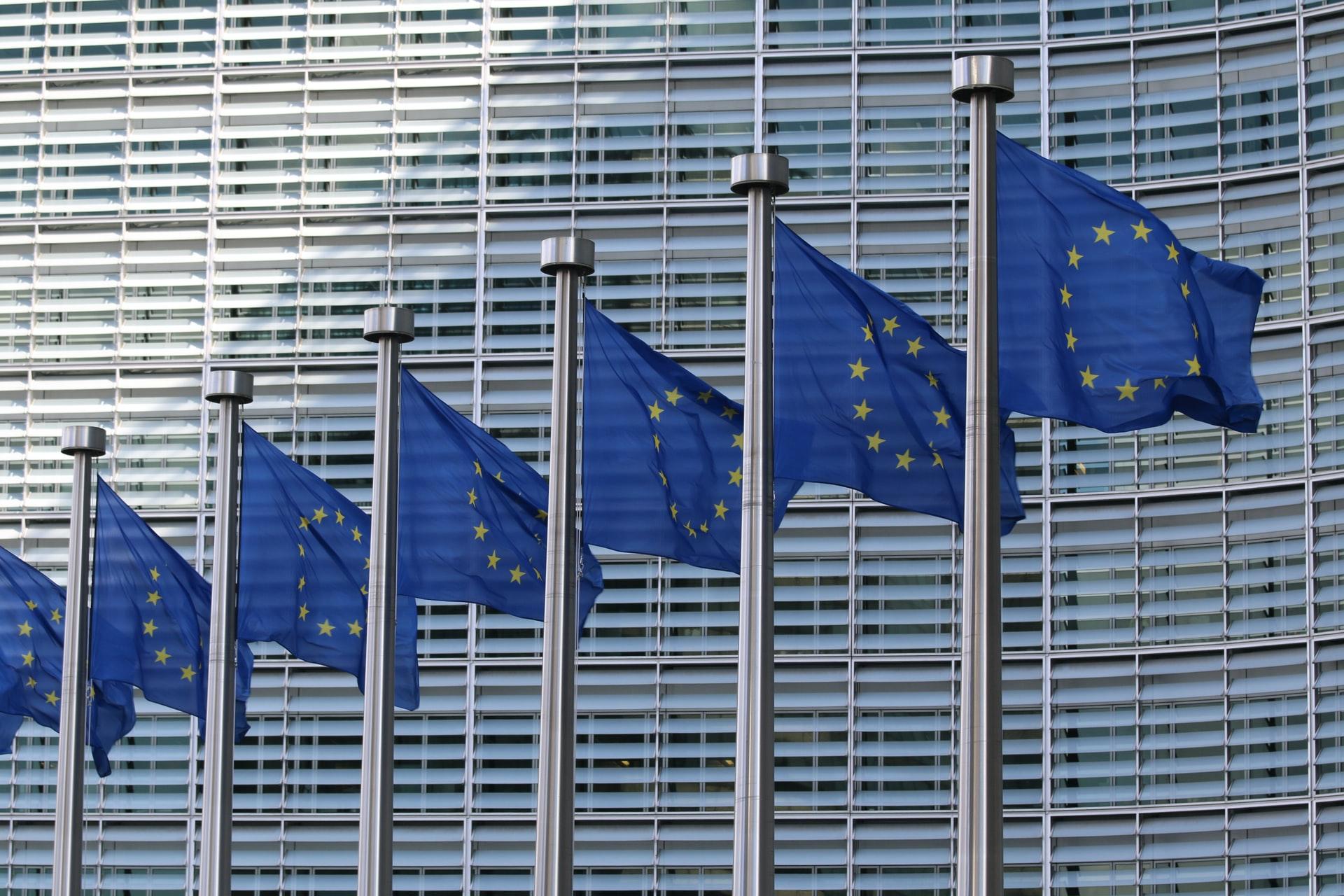 Flags outside EU Commission building